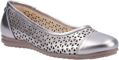 Hush Puppies Leah Slip On Ladies Shoes Pewter